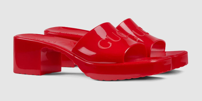 Gucci Rubber Slides Red